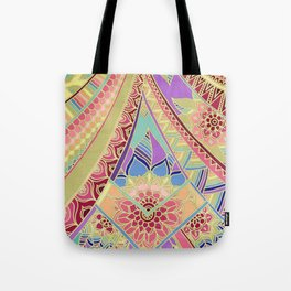 Rise and Shine - Rainbow Hued, Multi-Colored Doodle Tote Bag