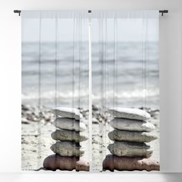 Balancing Stones On The Beach Blackout Curtain