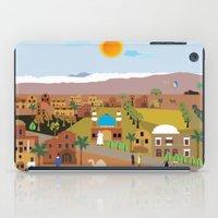 arab iPad Cases featuring Peaceful Arab village In the desert by Design4u Studio