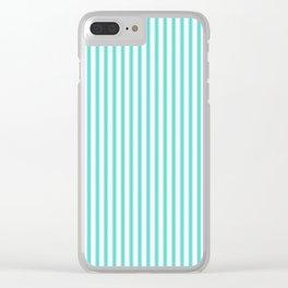 Classic Tiffany Aqua Blue and White Mattress Ticking Stripes Clear iPhone Case