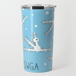 Yoga comic draw with snowflakes doing asanas Travel Mug