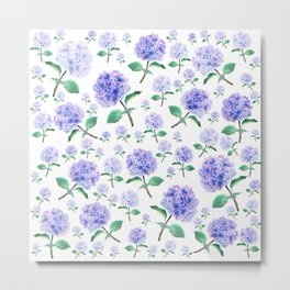 purple blue hydrangea pattern Metal Print
