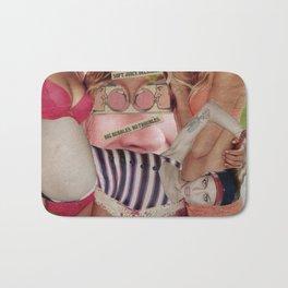 Big Bubbles No Troubles - - Vintage Collage Bath Mat