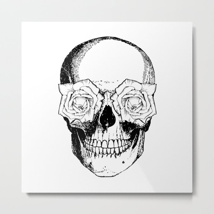 Skull and Roses | Black and White Metal Print