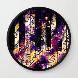 piano keys and music sheet pattern wsls Wall Clock