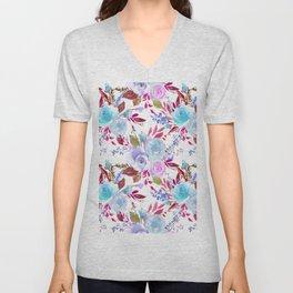 Modern pink lavender white watercolor floral Unisex V-Neck