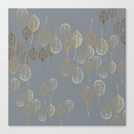 Golden Leaves - Gray Canvas Print