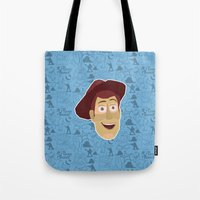 toy story Tote Bags featuring Woody - Toy Story by Kuki