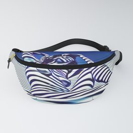 9135-KMA Blue Nude  Woman Striped with Shadow and Light Fanny Pack