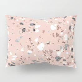 Pink Quartz and Marble Terrazzo Pillow Sham