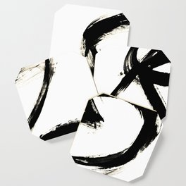 Brushstroke 3 - a simple black and white ink design Coaster