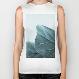 Teal Plant Leaves Biker Tank