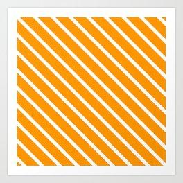 Neon Orange Diagonal Stripes Art Print