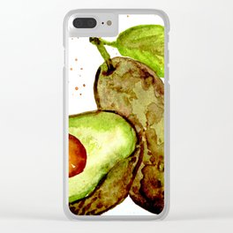 AVOCADO - Watercolor Painting Clear iPhone Case