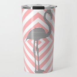 Flamingo - Abstract geometric pattern - pink and white. Travel Mug