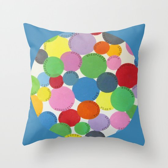 Word Bubbles Blue Throw Pillow