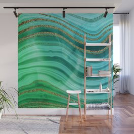 Ocean Blue And Green Mermaid Glamour Marble Wall Mural