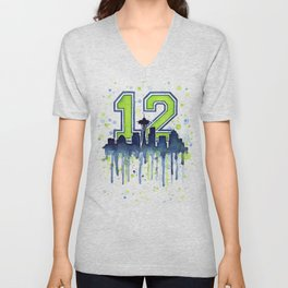 Seattle 12th Man Art Skyline Watercolor Unisex V-Neck