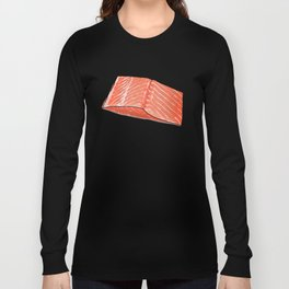 Salmon Fish Fillet Feast, Seafood on Peach Long Sleeve T-shirt