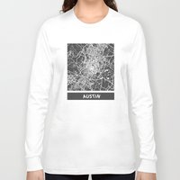 austin Long Sleeve T-shirts featuring Austin map by Map Map Maps