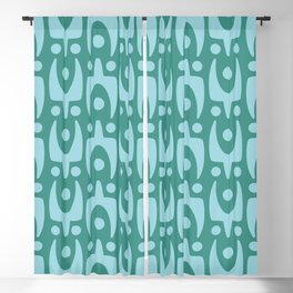 Mid Century Modern Abstract Pattern 156 Teal and Blue Blackout Curtain