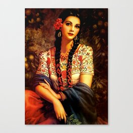 Jesus Helguera Painting of a Mexican Calendar Girl with Braids Canvas Print