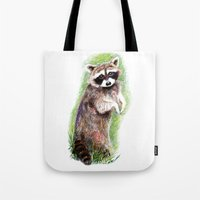 raccoon Tote Bags featuring Raccoon by Anna Shell