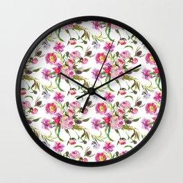 Pink lavender yellow watercolor elegant floral Wall Clock