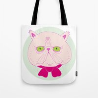 persian Tote Bags featuring Persian Cat by Madelen Foss