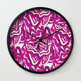 orbs, psychedelic pattern fuchsia Wall Clock