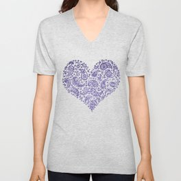 Purple Brocade Paisley Heart Unisex V-Neck