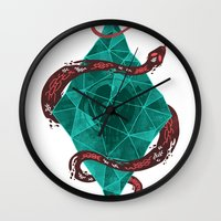 crystal Wall Clocks featuring Mystic Crystal by Hector Mansilla