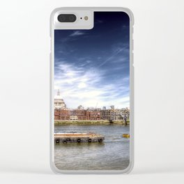 The River Thames and Barge and St Paul's Cathedral Clear iPhone Case