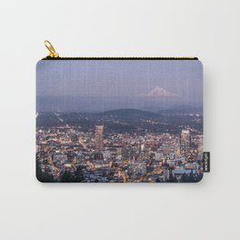 Portland Evening Urban Cityscape With Mt Hood Carry-All Pouch