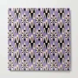Retro Mid Century Modern Atomic Triangles 735 Lavender and Black Metal Print