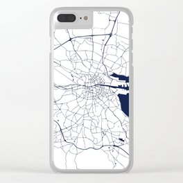 White on Navy Blue Dublin Street Map Clear iPhone Case