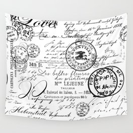 Vintage handwriting black and white Wall Tapestry