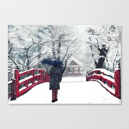 Footprints in Snow Canvas Print