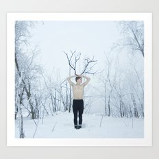 Snow Deer Boy Art Print