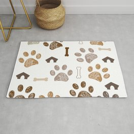 Brown colored paw print with bone and dog hut Rug