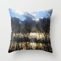 rileigh smirl Throw Pillows featuring Sunset by Rileigh Smirl