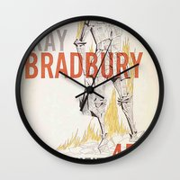 book cover Wall Clocks featuring Fahrenheit 451 Book Cover by proudcow