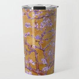 Almond Blossoms Orange Travel Mug