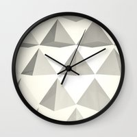 pyramid Wall Clocks featuring Pyramid by Lauren Miller