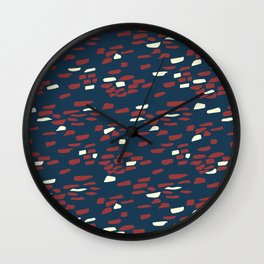 Abstract Stone Wall Pattern Print in Red, White, and Blue Wall Clock