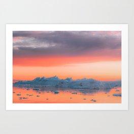 Surreal Iceberg during a bright orange Sunset Sky – Arctic Nature Photography Art Print