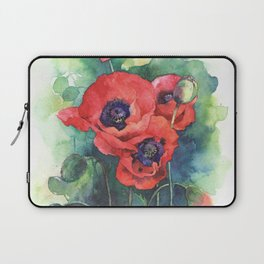 Watercolor red poppy flowers Laptop Sleeve