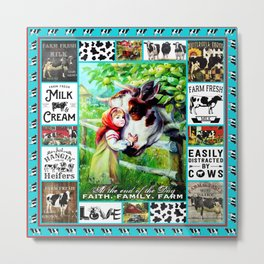 Farm animals Faith Farm Family Bedding Set throw Blanket Duvet Cover Metal Print