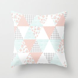 Trendy quilt pattern triangle quilt baby nursery gender neutral gifts for new baby room Throw Pillow