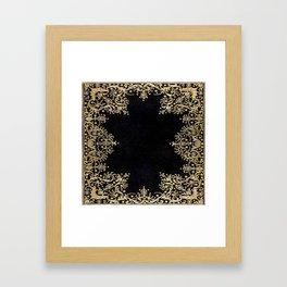 Black and Gold Filigree Framed Art Print